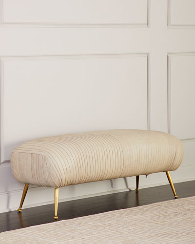 Beretta Leather Bench, Beige