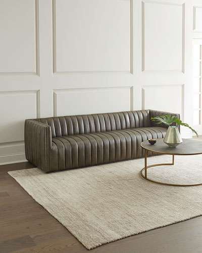 Aldine Channel Tufted Leather Sofa, 97