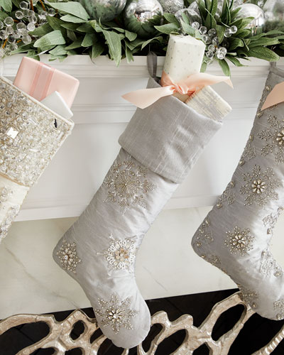 Crystal Christmas Snowflakes Plain Cuff Stocking
