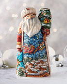 G. Debrekht Up Up and Away Wood-Carved Santa