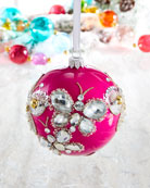 Hot Pink Shiny Ball Stone Butterfly Christmas Ornament