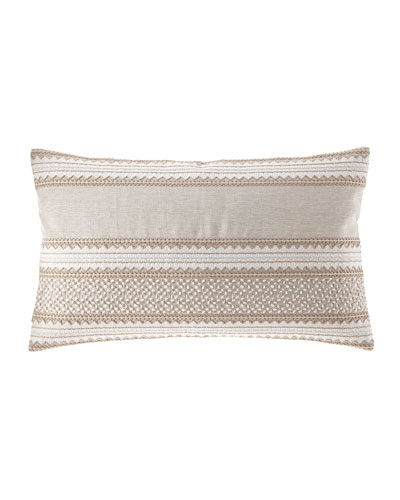 Embroidered Linen Lumbar Pillow