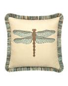 Elaine Smith Dragonfly Sunbrella Pillow, Light Blue