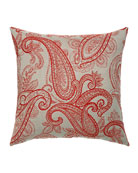 Elaine Smith Polished Paisley Sunbrella Pillow, Red