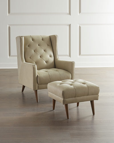 Bonavich Tufted Leather Wing Chair and Ottoman