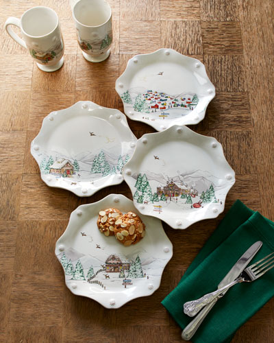 Berry & Thread North Pole Scalloped Dessert Plates, Set of 4