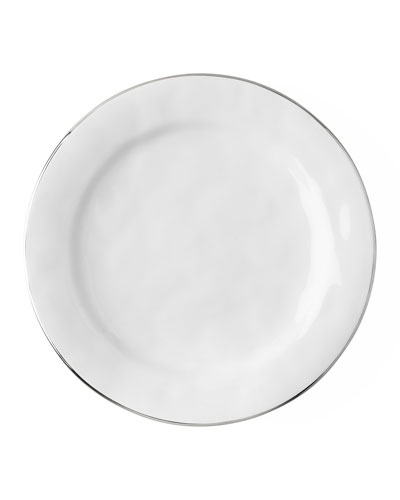 Puro Dinner Plate with Silvertone Rim