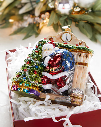 Santa By The Fireplace Christmas Ornament