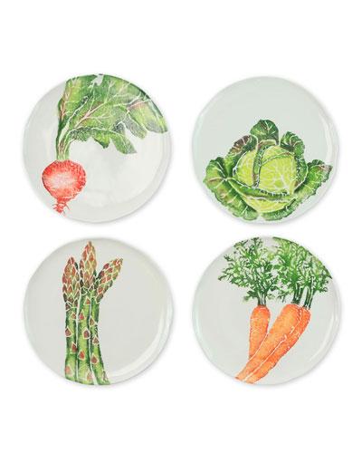 Spring Vegetables Assorted Salad Plates, Set of 4