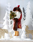 Ino Schaller Burgundy Santa with Gold Deer Coat