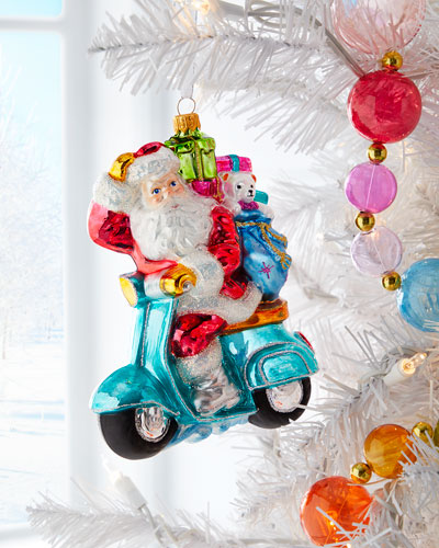 Santa on Scooter Ornament