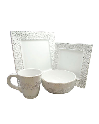 Bianca Leaf 16-Piece Dinnerware Set