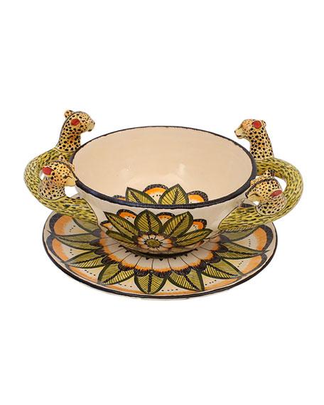 Ardmore Ceramic Art Cheetah Soup Bowl