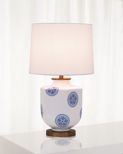 Temba Table Lamp, Blue/White