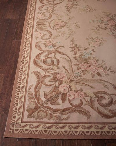Aubusson Hand-Knotted Warm Beige Rug, 8.8' x 11.8'