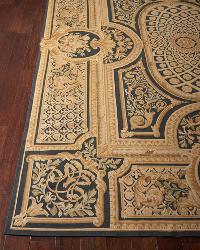 Aubusson Hand-Knotted Ebony Rug, 8.6' x 11.6'