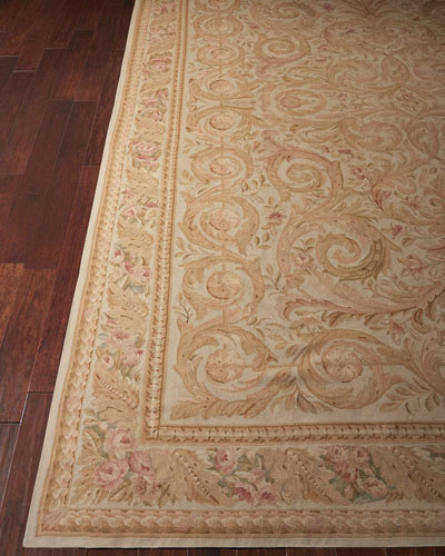 Aubusson Hand-Knotted Golden Beige Rug, 9.9' x 13.9'