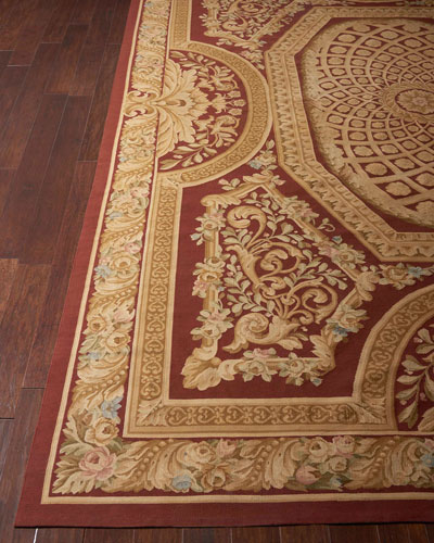 Aubusson Hand-Knotted Burgundy & Gold Rug, 9.9' x 13.9'