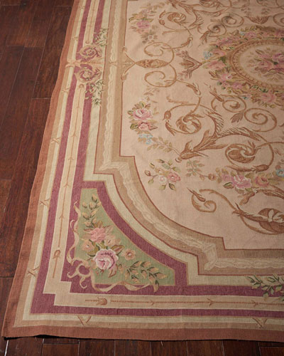 Aubusson Hand-Knotted Luminous Gold Rug, 7.9' x 9.1'
