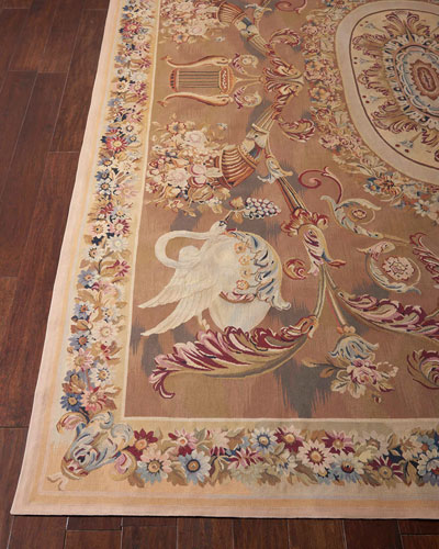 Aubusson Hand-Knotted Burnished Gold Rug, 10.8' x 10.9'