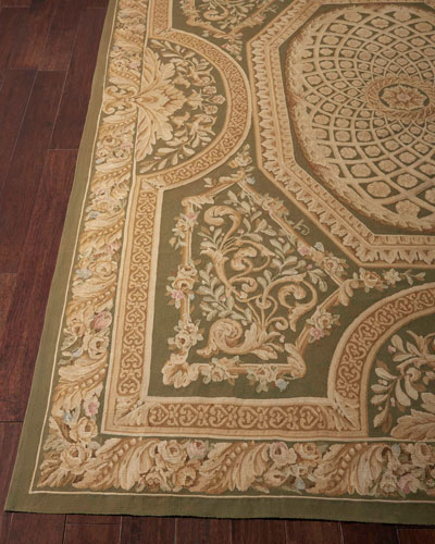 Aubusson Hand-Knotted Olive Rug, 7.9' x 9.9'