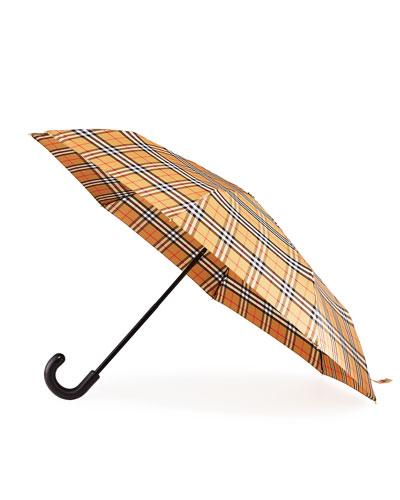 Packable Vintage Check Canopy Umbrella
