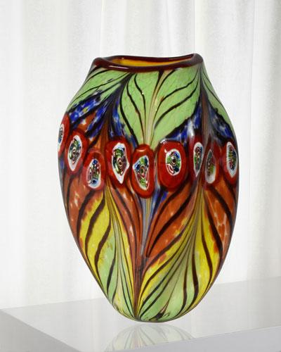 Peacock Feather Decorative Art Glass Vase