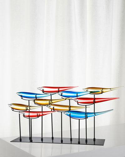 Decorative 10 Multicolor Fish Art Glass Figurine
