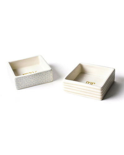 Mr. & Mrs. Square Trinket Bowls, Set of 2