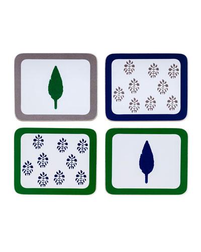Leaf and Tree Print Coasters, Set of 4