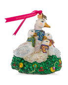Jay Strongwater Six Geese Laying Glass Ornament