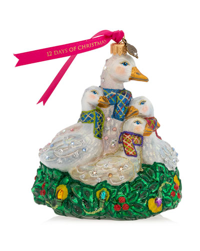 Six Geese Laying Glass Ornament