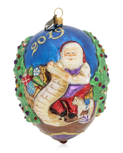2019 Santa Glass Ornament