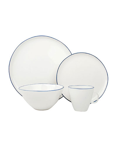 Abbesses Blue Rim 4-Piece Place Setting