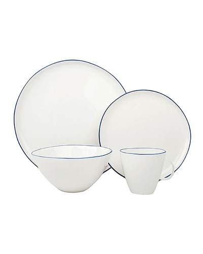 Abbesses Blue Rim 16-Piece Dinnerware Set