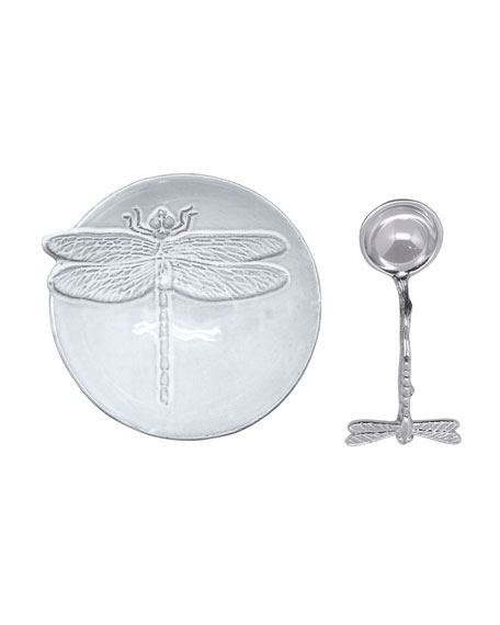 Mariposa Dragonfly Ceramic Canape Plate and Spoon
