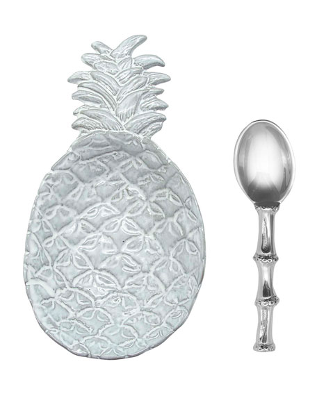 Mariposa Pineapple Ceramic Canape Plate and Spoon