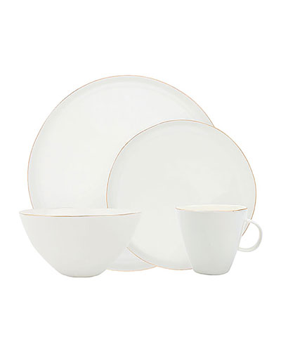 Abbesses Gold Rim 16-Piece Dinnerware Set