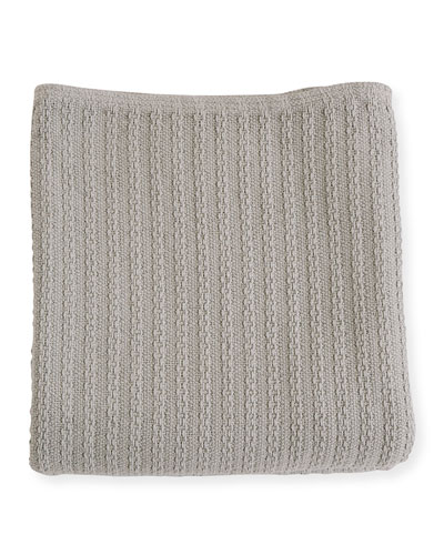 Cable Knit Herringbone Cotton Twin Blanket, Classic Gray