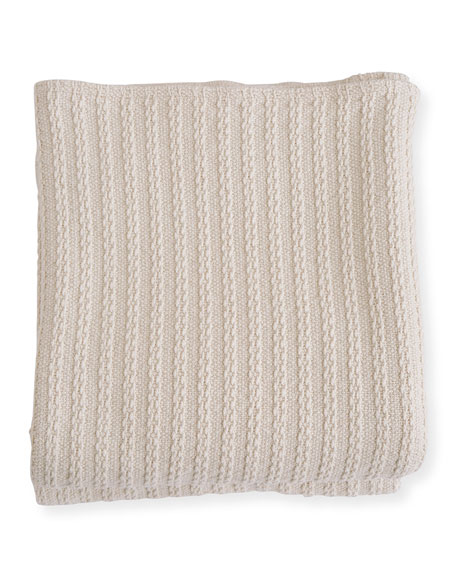 Evangeline Linens Cable Knit Herringbone Cotton King Blanket, Natural