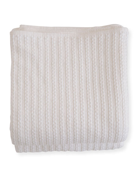 Evangeline Linens Cable Knit Herringbone Cotton Blanket, Bright White