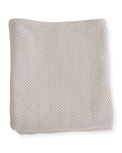 Herringbone Cotton Twin Blanket, Gray/Natural