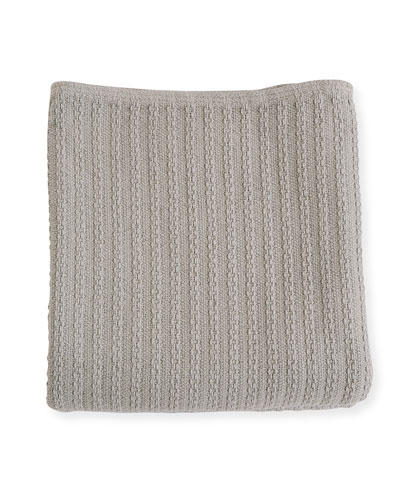Cable Knit Herringbone Cotton Blanket, Classic Gray