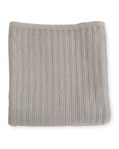 Cable Knit Herringbone Cotton King Blanket, Classic Gray