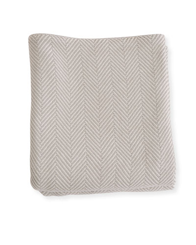 Herringbone Cotton Blanket, Gray Natural
