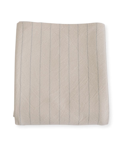 Pinstripe Herringbone Cotton Blanket, Classic Gray