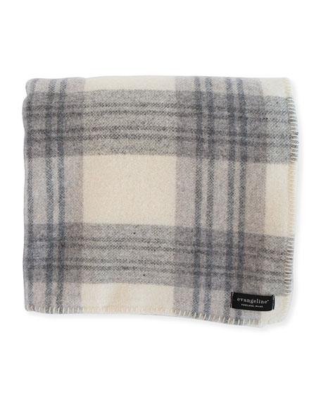Evangeline Linens Plaid Merino Wool King Blanket, Cream/Ledge