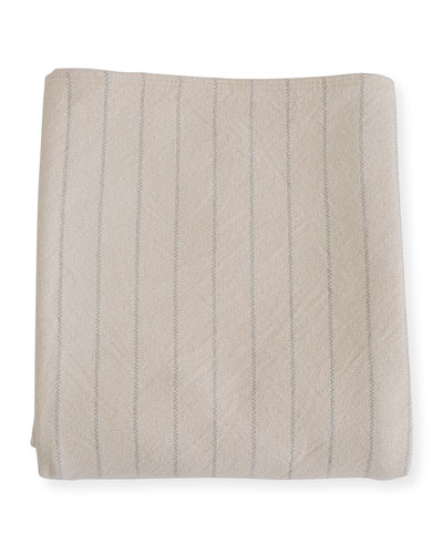 Pinstripe Herringbone Cotton Twin Blanket, Classic Gray