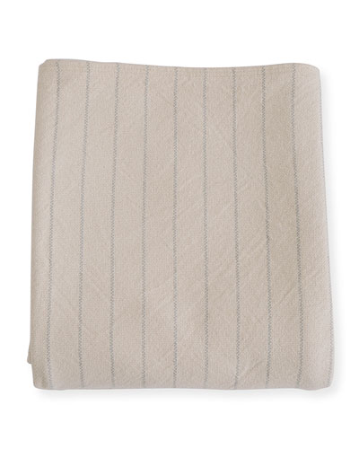 Pinstripe Herringbone Cotton King Blanket, Classic Gray