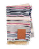 Loewe Striped Wool/Cotton Blanket w/ Fringed Ends
